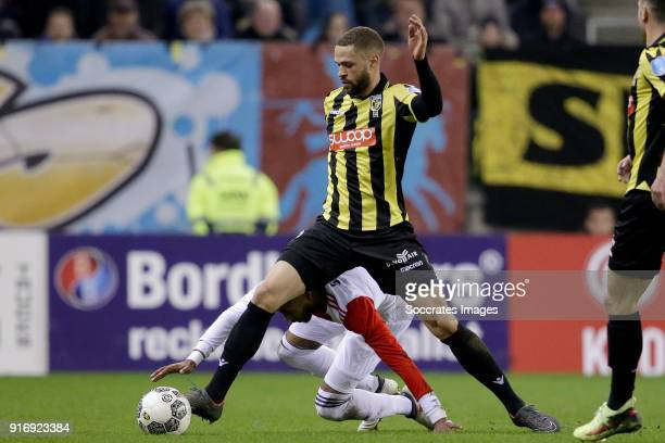 Jeremiah St Juste of Feyenoord Luc Castaignos of Vitesse during the Dutch Eredivisie match between Vitesse v Feyenoord at the GelreDome on February...