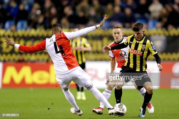 Jeremiah St Juste of Feyenoord Mason Mount of Vitesse during the Dutch Eredivisie match between Vitesse v Feyenoord at the GelreDome on February 11...