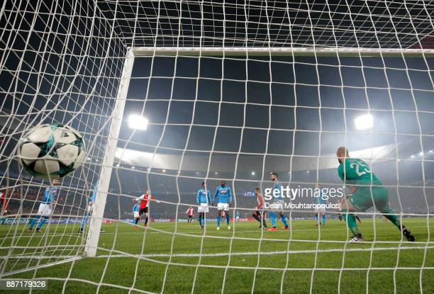 Jeremiah St Juste of Feyenoord scores his sides second goal during the UEFA Champions League group F match between Feyenoord and SSC Napoli at...