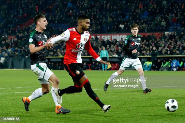 Jeremiah St Juste of Feyenoord scores the second goal to make it 20 during the Dutch Eredivisie match between Feyenoord v FC Groningen at the Stadium...