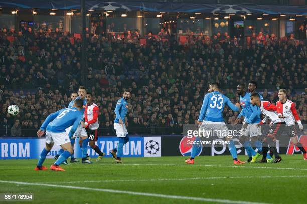 Jeremiah St Juste of Feyenoord scores the third goal to make it 21 during the UEFA Champions League match between Feyenoord v Napoli at the Feyenoord...