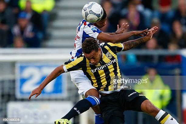 Jeremiah St Juste of sc Heerenveen Lewis Baker of Vitesse during the Dutch Eredivisie match between sc Heerenveen and Vitesse Arnhem at Abe Lenstra...