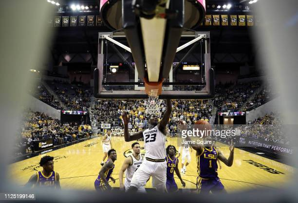 Jeremiah Tilmon of the Missouri Tigers and Ja'vonte Smart of the LSU Tigers compete for a rebound during the game at Mizzou Arena on January 26 2019...
