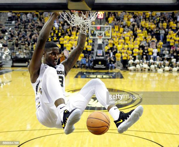 Jeremiah Tilmon of the Missouri Tigers dunks during the game against the Miami Redhawks at Mizzou Arena on December 5 2017 in Columbia Missouri
