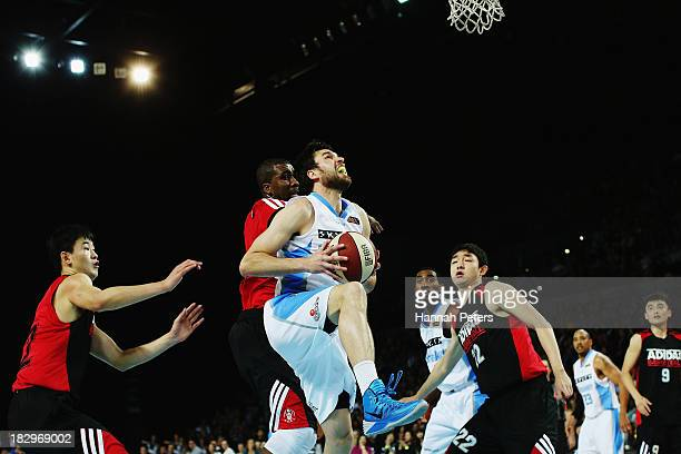 Jeremiah Trueman of the Breakers lays the ball up during the NBL preseason match between the New Zealand Breakers and the Dongguan Leopards at Vector...