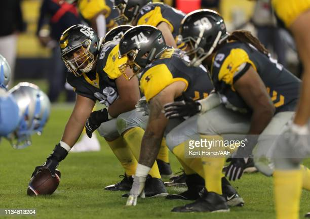 Jeremiah Kolone of the San Diego Fleet lines up during the third quarter of the Alliance of American Football game against the Salt Lake Stallions at...