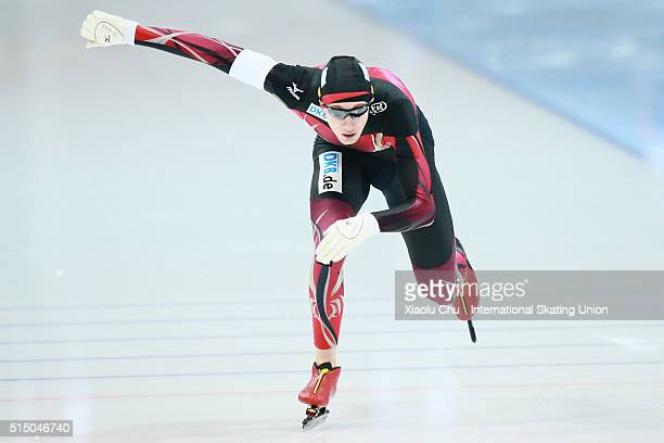 Jeremias Marx of Germany competes in the Men 1000m on day one of the ISU Junior Speed Skating Championships 2016 at the Jilin Speed Skating OVAL on...