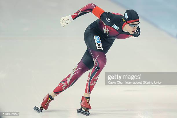 Jeremias Marx of Germany competes in the Men 1500m on day one of the ISU Junior World Cup speed skating event at the Jilin Provincial Speed Skating...
