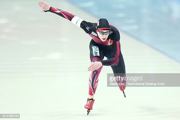 Jeremias Marx of Germany competes in the Men 500m on day one of the ISU Junior Speed Skating Championships 2016 at the Jilin Speed Skating OVAL on...