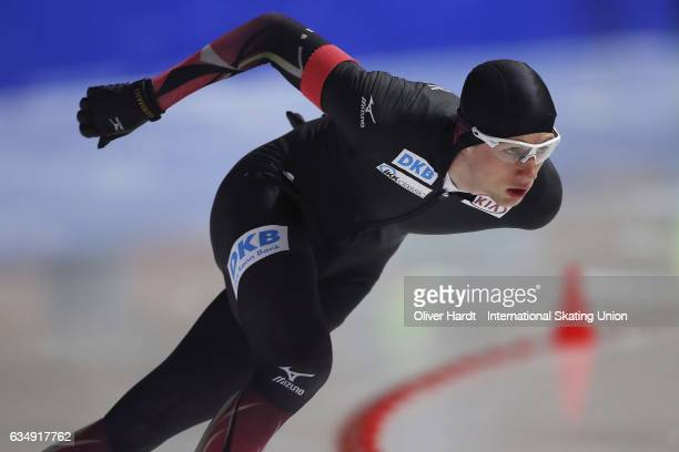 Jeremias Marx of Germany competes in the Men Jun 1000m race during the ISU Junior World Cup Speed Skating Day 2 at the Gunda Niemann Stirnemann...