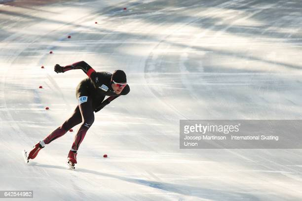 Jeremias Marx of Germany competes in the men's 1000m during day two of the World Junior Speed Skating Championships at Oulunkyla Sports Park on...