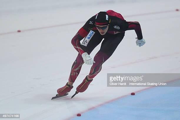 Jeremias Marx of Germany competes in the mens 1500m race during day 2 the ISU Junior World Cup Speed Skating Groningen on November 15 2015 in...