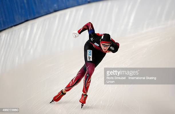 Jeremias Marx of Germany competes in the men's 1500m race during day two of the ISU Junior World Cup Speed Skating at Sportforum Hohenschoenhausen on...