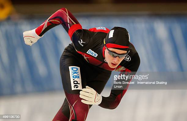 Jeremias Marx of Germany competes in the men's 3000m race during day one of the ISU Junior World Cup Speed Skating at Sportforum Hohenschoenhausen on...