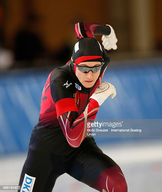 Jeremias Marx of Germany competes in the men's 500m race during day two of the ISU Junior World Cup Speed Skating at Sportforum Hohenschoenhausen on...