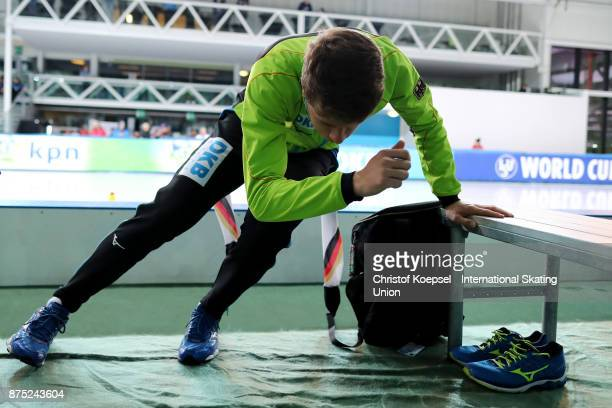 Jeremias Marx of Germany prepares during Day 1 of the ISU World Cup Speed Skating at Soermarka Arena on November 17 2017 in Stavanger Norway