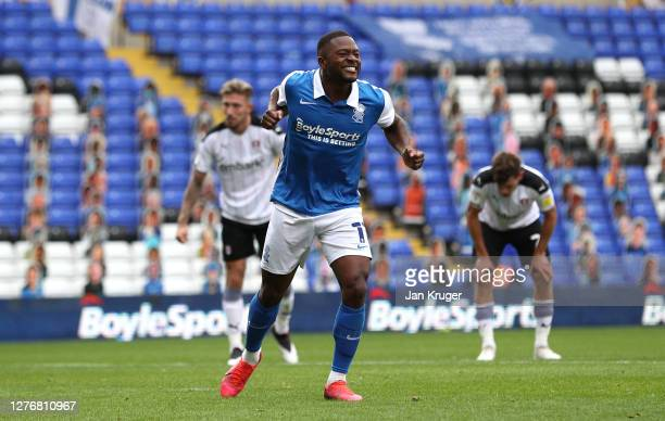 Jeremie Bela of Birmingham City celebrates scoring from the penalty spot during the Sky Bet Championship match between Birmingham City and Rotherham...