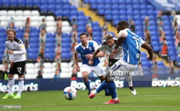 Jeremie Bela of Birmingham City scores from the penalty spot during the Sky Bet Championship match between Birmingham City and Rotherham United at St...