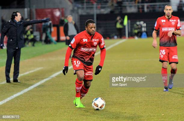 Jeremie Bela of Dijon during the Ligue 1 match between Dijon DCO and Paris Saint Germain at Stade Gaston Gerard on February 4 2017 in Dijon France