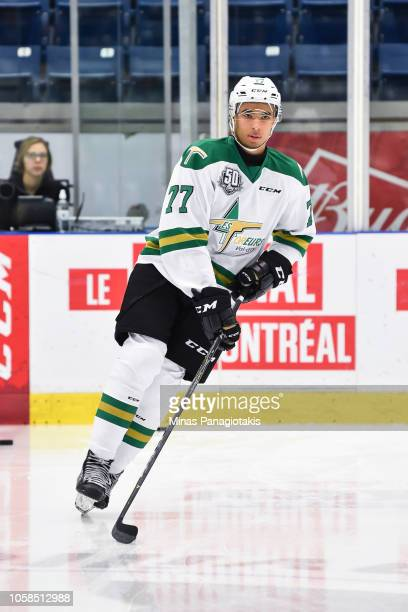 Jeremie Biakabutuka of the Valdu2019Or Foreurs skates in the warmup prior to the QMJHL game against the BlainvilleBoisbriand Armada at Centre...