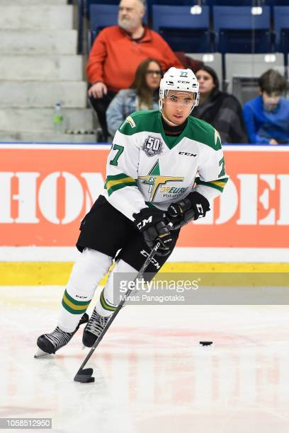 Jeremie Biakabutuka of the Valdu2019Or Foreurs skates the puck in the warmup prior to the QMJHL game against the BlainvilleBoisbriand Armada at...