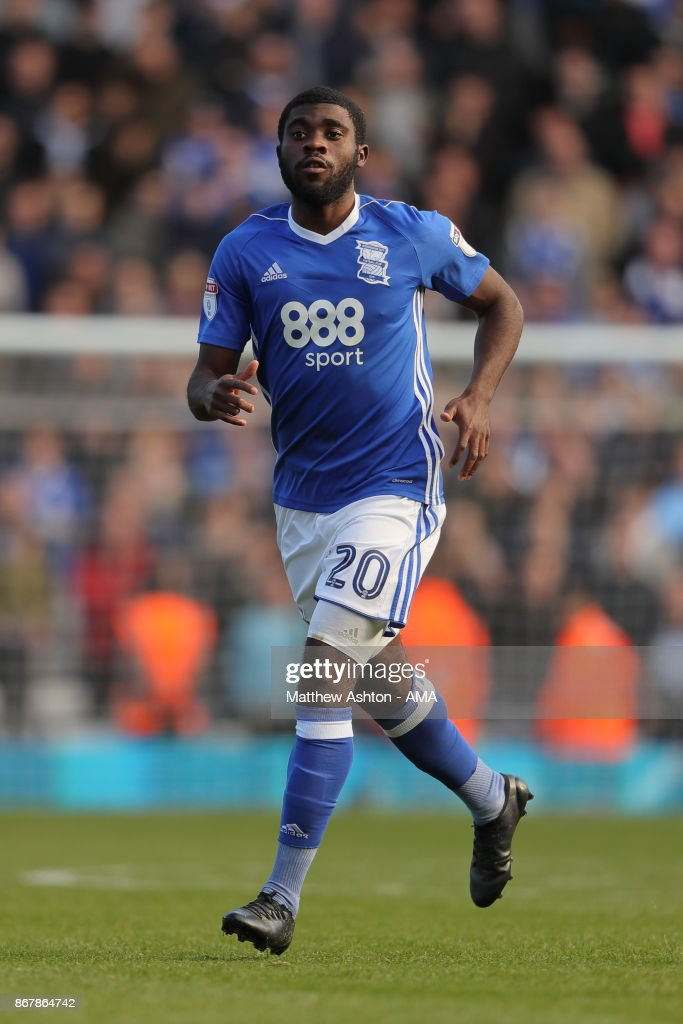 Jeremie Boga of Birmingham City during the Sky Bet Championship match between Birmingham City and Aston Villa at St Andrews (stadium) on October 29, 2017 in Birmingham, England.
