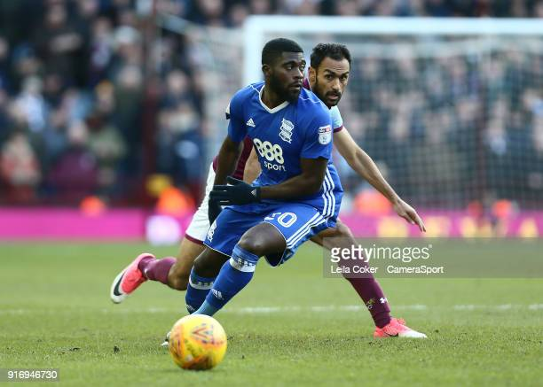 Jeremie Boga of Birmingham City wins the ball against Ahmed Elmohamady of Aston Villa during the Sky Bet Championship match between Aston Villa and...