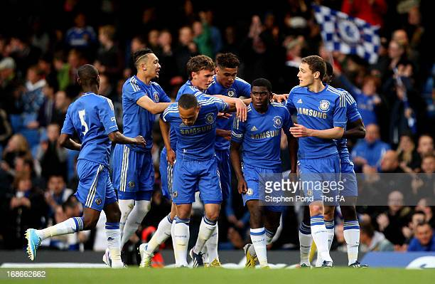 Jeremie Boga of Chelsea celebrates with team-mates after scoring a goal during the FA Youth Cup Final Second Leg match between Chelsea and Norwich...