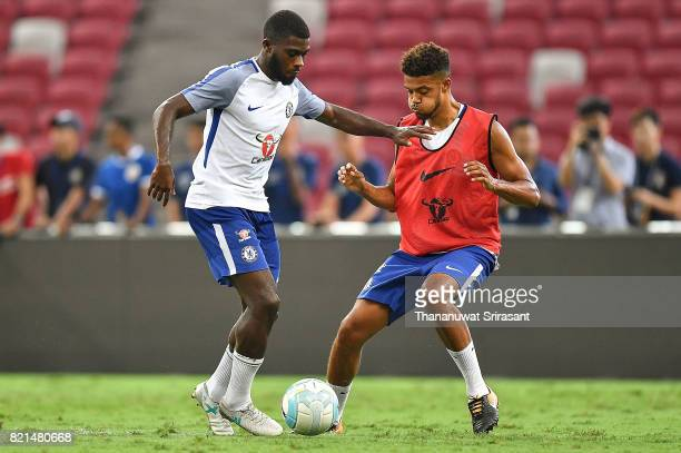 Jeremie Boga of Chelsea FC competes for the ball during a Chelsea FC International Champions Cup training session at National Stadium on July 24 2017...