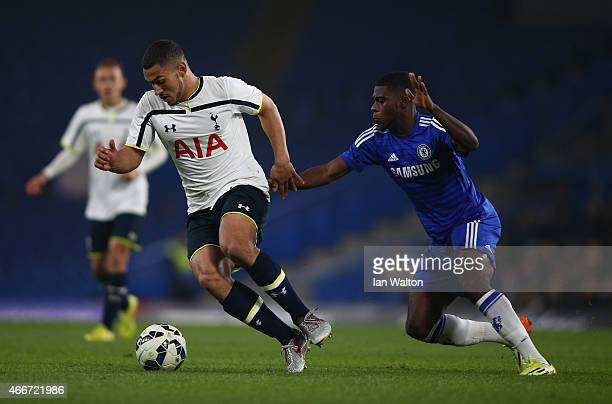 Jeremie Boga of Chelsea tries to tackle Cameron Carter Vickers of during the FA Youth Cup Semi Final Second Leg match between Chelsea v Tottenham...