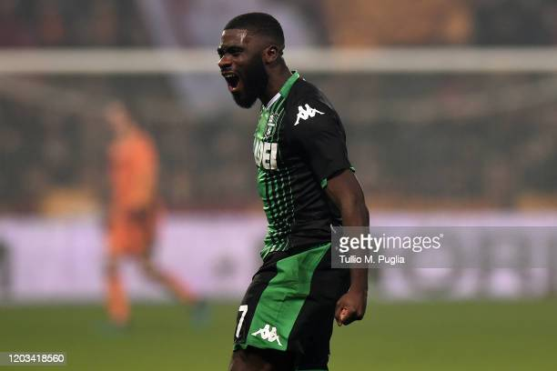 Jeremie Boga of Sassuolo celebrates after scoring his team's fourth goal during the Serie A match between US Sassuolo and AS Roma at Mapei Stadium...
