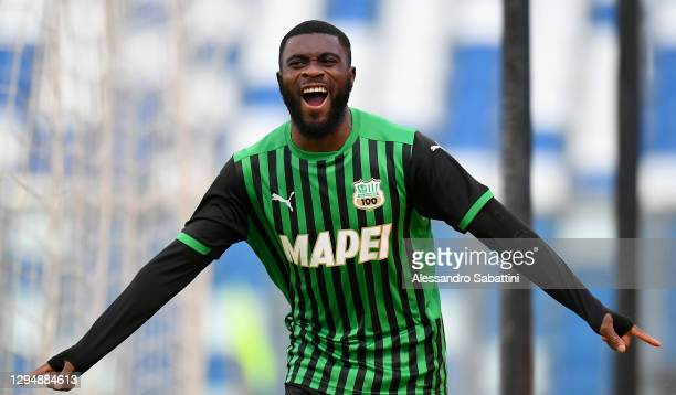 Jeremie Boga of Sassuolo celebrates after scoring their team's first goal during the Serie A match between US Sassuolo and Genoa CFC at Mapei Stadium...