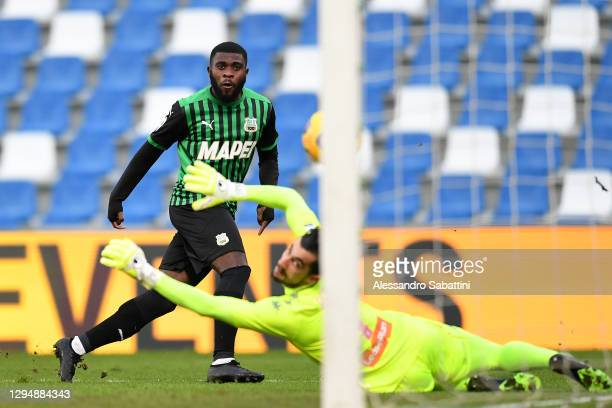 Jeremie Boga of Sassuolo scores his sides 1st goal past Mattia Perin of Genoa during the Serie A match between US Sassuolo and Genoa CFC at Mapei...