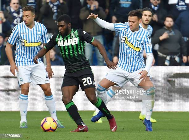 Jeremie Boga of US Sassuolo and Alessandro Murgia of SPAL in action during the Serie A match between US Sassuolo and SPAL at Mapei Stadium Citta' del...