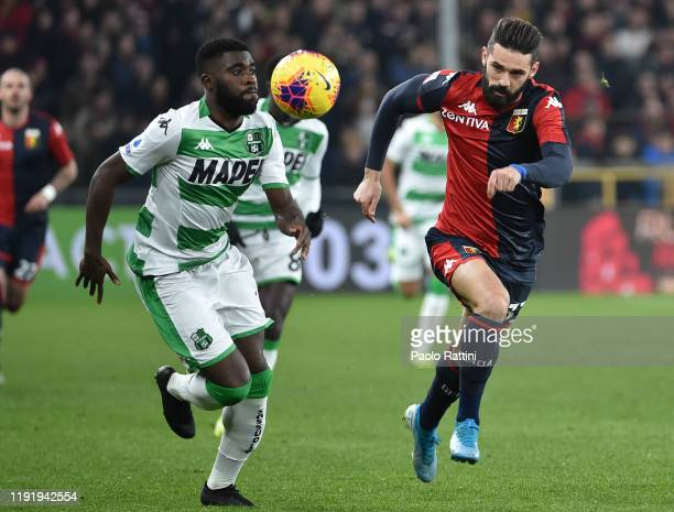 Jeremie Boga of US Sassuolo and Marko Pajac of Genoa CFC during the Serie A match between Genoa CFC and US Sassuolo at Stadio Luigi Ferraris on...