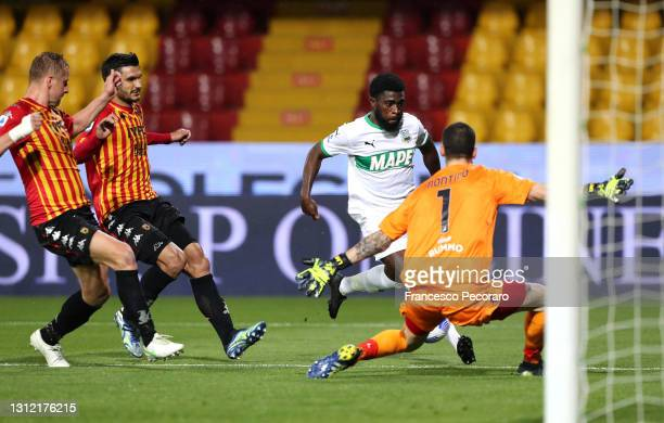 Jeremie Boga of U.S. Sassuolo Calcio cross the ball, leading to an own goal scored by Federico Barba of Benevento Calcio during the Serie A match...