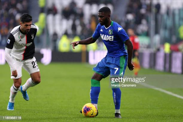 Jeremie Boga of Us Sassuolo Calcio in action during the the Serie A match between Juventus Fc and Us Sassuolo Calcio The match end in a tie 22