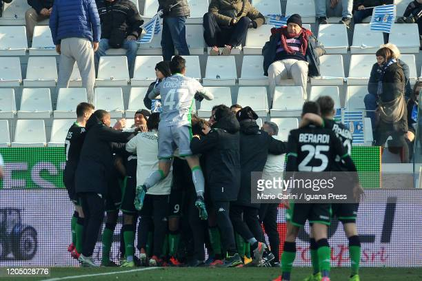 Jeremie Boga of US Sassuolo celebrates after scoring his team's second goal during the Serie A match between SPAL and US Sassuolo at Stadio Paolo...