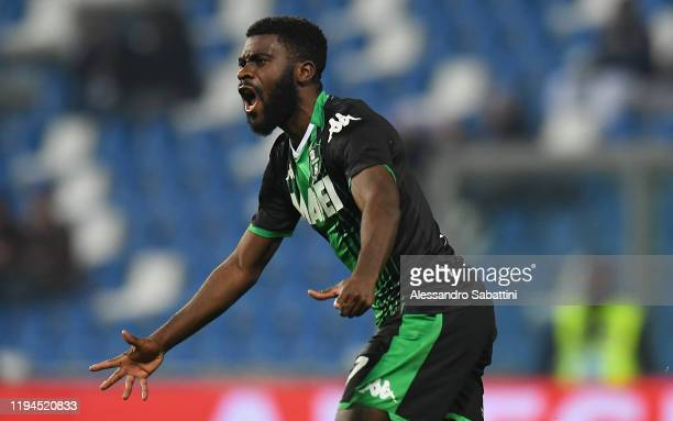 Jeremie Boga of US Sassuolo celebrates after scoring the 1-1 goal during the Serie A match between US Sassuolo and Torino FC at Mapei Stadium - Città...