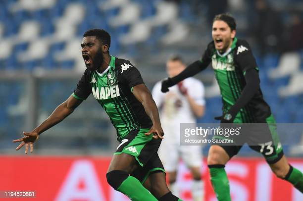 Jeremie Boga of US Sassuolo celebrates after scoring the 11 goal during the Serie A match between US Sassuolo and Torino FC at Mapei Stadium Città ...