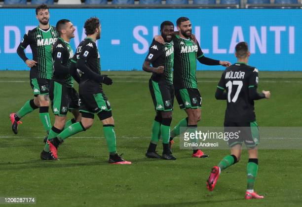 Jeremie Boga of US Sassuolo celebrates his goal with his teammate Gregoire Defrel during the Serie A match between US Sassuolo and Brescia Calcio at...