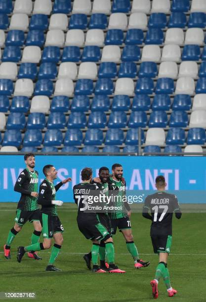 Jeremie Boga of US Sassuolo celebrates his goal with his teammates during the Serie A match between US Sassuolo and Brescia Calcio at Mapei Stadium...
