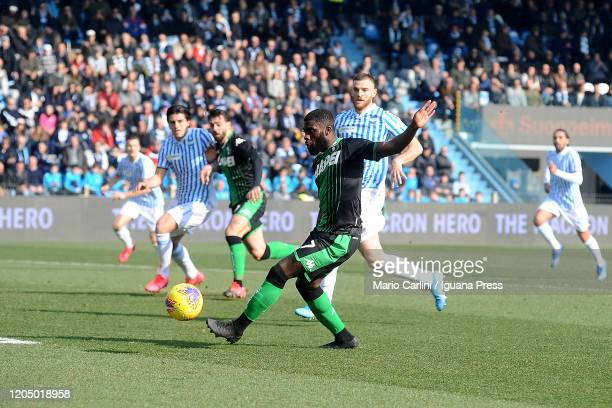 Jeremie Boga of US Sassuolo in action during the Serie A match between SPAL and US Sassuolo at Stadio Paolo Mazza on February 09 2020 in Ferrara Italy