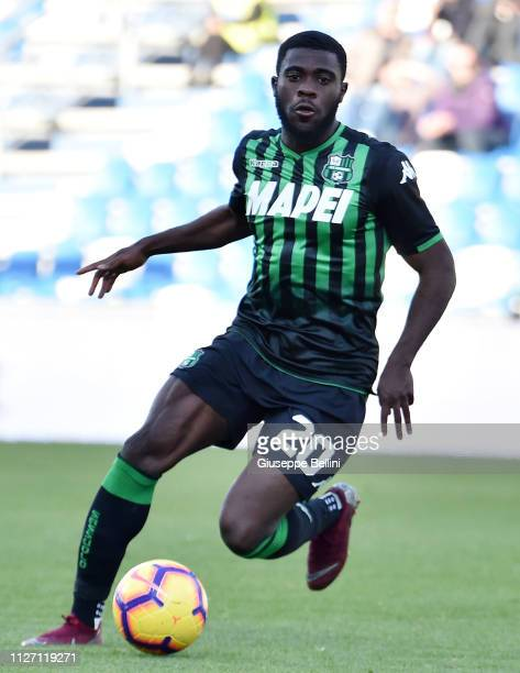 Jeremie Boga of US Sassuolo in action during the Serie A match between US Sassuolo and SPAL at Mapei Stadium Citta' del Tricolore on February 24 2019...