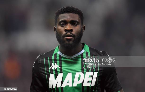 Jeremie Boga of US Sassuolo looks on during the Serie A match between US Sassuolo and Torino FC at Mapei Stadium Città  del Tricolore on January 18...