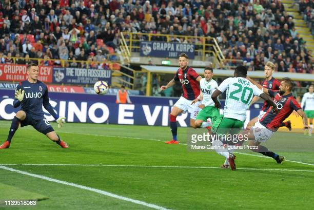Jeremie Boga of US Sassuolo scores a goal during the Serie A match between Bologna FC and US Sassuolo at Stadio Renato Dall'Ara on March 31 2019 in...