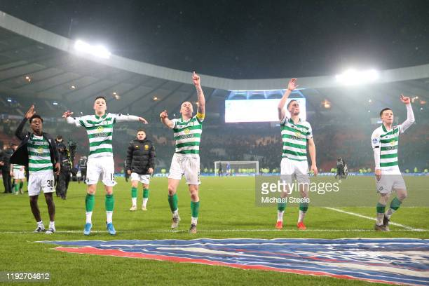 Jeremie Frimpong, Michael Johnstone, Scott Brown, Kristoffer Ajer and Callum McGregor of Celtic celebrate victory following the Betfred Cup Final...