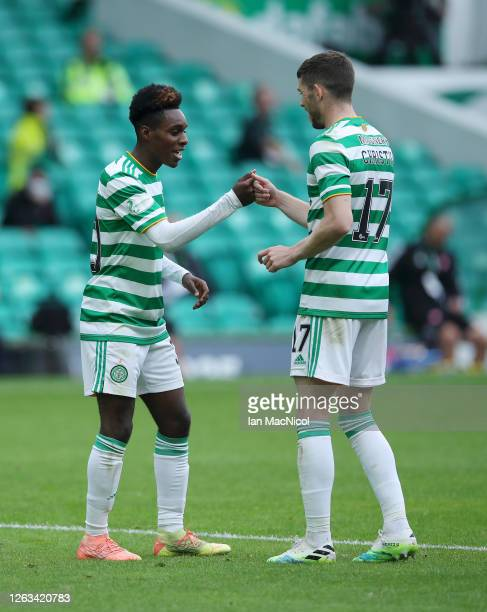 Jeremie Frimpong of Celtic celebrates after he scores his teams second goal during the Ladbrokes Premiership match between Celtic and Hamilton...
