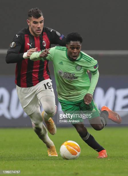 Jeremie Frimpong of Celtic FC is challenged by Theo Hernandez of AC Milan during the UEFA Europa League Group H stage match between AC Milan and...