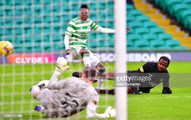 Jeremie Frimpong of Celtic has his shot saved by Max Srtyjek of Livingston FC during the Ladbrokes Scottish Premiership match between Celtic and...